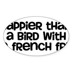 Happier Bird Sticker (Oval 50 pk)