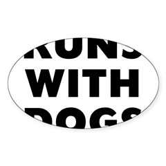 Runs Dog Sticker (Oval 50 pk)
