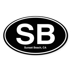 Sunset Beach Sticker (Oval 50 pk)