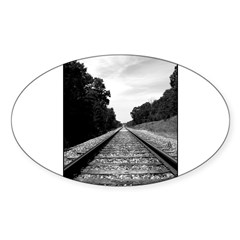 .railroad tracks. b&w Sticker (Oval 50 pk)