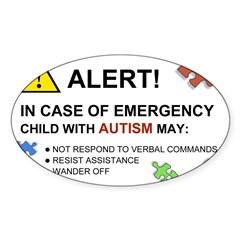 Autism Emergency Warning Sticker for Car Sticker (Oval 50 pk)