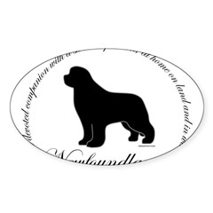 Devoted Black Newf Sticker (Oval 50 pk)