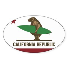 California Surfing Bear Flag Sticker (Oval 50 pk)