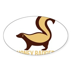 Honey Badger BadAs Sticker (Oval 50 pk)