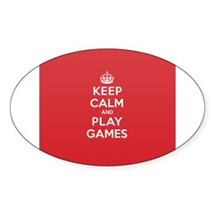 Keep Calm Play Game Sticker (Oval 50 pk)