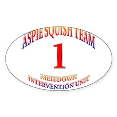 Aspie Squish Team Oval Sticker (Oval 50 pk)