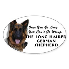 New Item! Long Haired German Shepherd Sticker (Oval 50 pk)