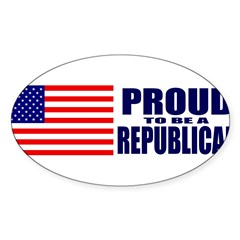 Proud to be a Republican Sticker (Oval 50 pk)