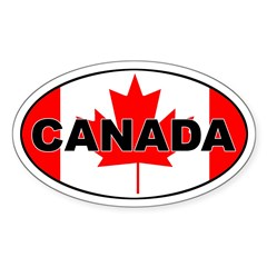 Canadian Flag Oval Sticker (Oval 50 pk)