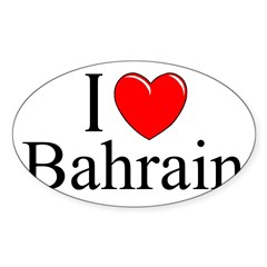 """I Love Bahrain"" Rectangle Sticker (Oval 50 pk)"