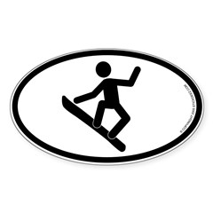 """Snowboarder"" - Oval Sticker (Oval 50 pk)"