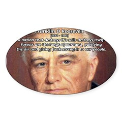 American President FDR Rectangle Sticker (Oval 50 pk)