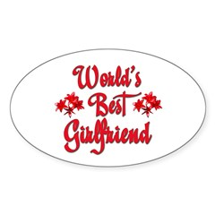 World's Best Girlfriend Rectangle Sticker (Oval 50 pk)