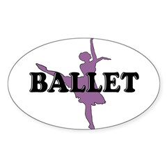 Female Ballet Silhouette Rectangle Sticker (Oval 50 pk)
