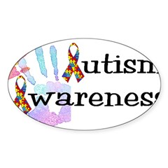 Autism Awareness Rectangle Sticker (Oval 50 pk)