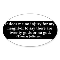 Jefferson religious tolerence Sticker (Oval 50 pk)