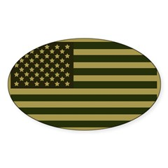 American Flag Sticker (Drab) Sticker (Oval 50 pk)