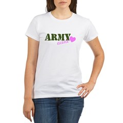 Army Aunt Green & Pink Hear Organic Women's T-Shirt