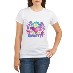 Hippie Groovy Heart Design Organic Women's T-Shirt