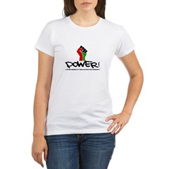 Women's Plus Size V-Neck Dark Black Power Shirt Organic Women's T-Shirt