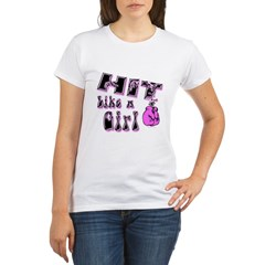 Hit Like A Girl drk Organic Women's T-Shirt