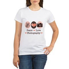 Peace Love Photography Camera Organic Women's T-Shirt