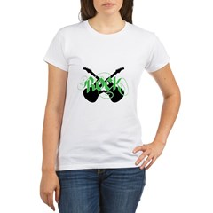 Rock (Crossed Guitars Green) Organic Women's T-Shirt