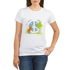 Moose and Peace Sign Organic Women's T-Shirt