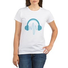 Blue Headphones Maternity Tee (Dark) Organic Women's T-Shirt