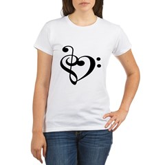Treble Bass Clef Hear Organic Women's T-Shirt