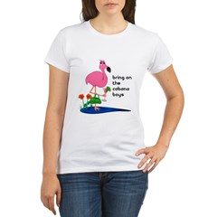 Flamingo on vacation with martini on Organic Women's T-Shirt