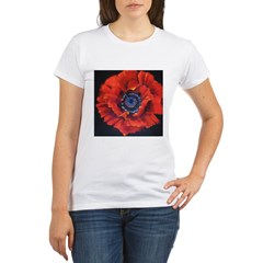 Red Poppy on Black Organic Women's T-Shirt