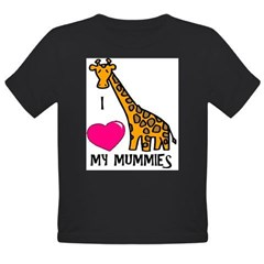 I Love My Mummies Giraffe Organic Toddler T-Shirt (dark)