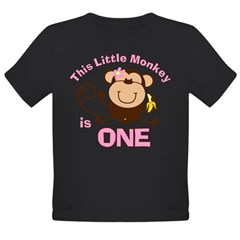Little Monkey 1st Birthday Girl Organic Toddler T-Shirt (dark)