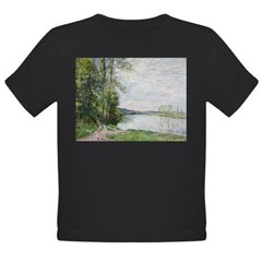 The Riverside Road from Veneux to Thomery by Alfre Organic Toddler T-Shirt (dark)