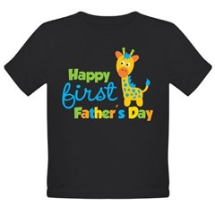 Giraffe 1st Fathers Day Organic Toddler T-Shirt (dark)