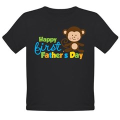 Boy Monkey Happy 1st Fathers Day Organic Toddler T-Shirt (dark)