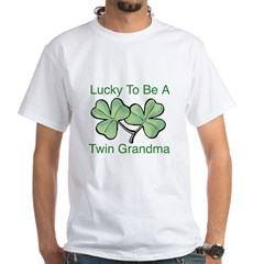 Lucky To Be A Twin Grandma White T-Shirt