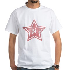 Red-Star-Faded-Blk White T-Shirt