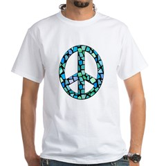 Mosaic Peace, blue White T-Shirt