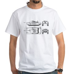 M1-A1 Abrams Main Battle Tank White T-Shirt