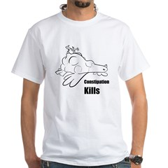 Constipation Kills! Sleeveless Chicken T-Shir White T-Shirt