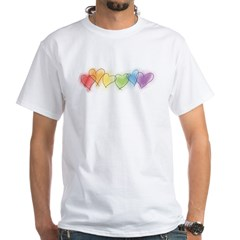 Watercolor Rainbow Hearts White T-Shirt