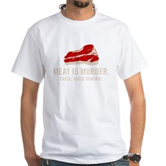 meat is murder2 White T-Shirt