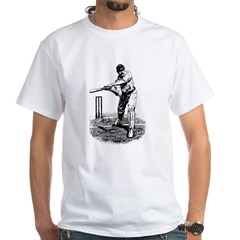 Cricket Player White T-Shirt