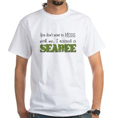 I raised a Seabee (green) White T-Shirt