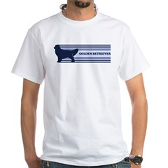 Golden Retriever (retro-blue) White T-Shirt