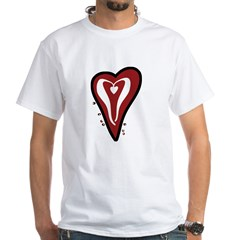 Valentine Dotty Heart White T-Shirt