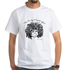 Curly Haired Girl White T-Shirt