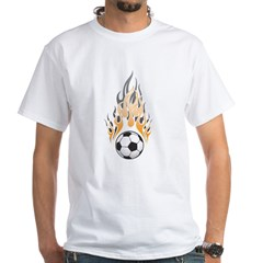Soccer Ball & Flame White T-Shirt